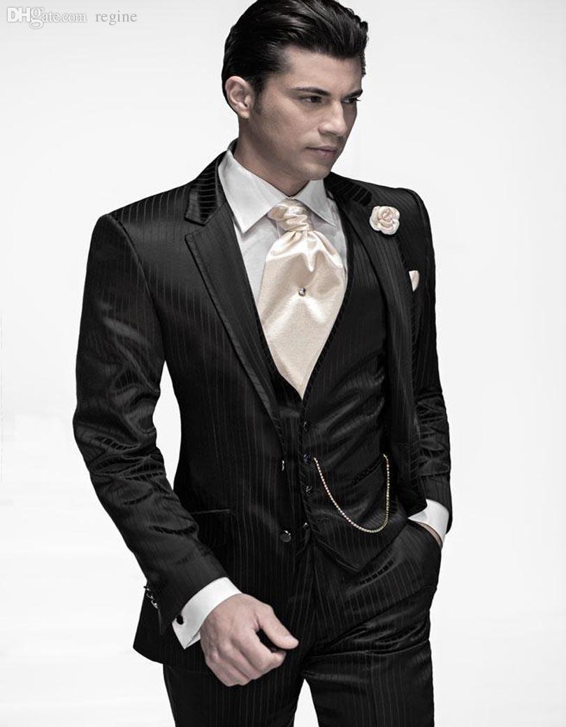 cheap for discount ed0ee efd89 Abiti da uomo smoking all ingrosso nero vintage abiti da sposo con risvolto  per uomo abiti da sposo due bottoni (giacca pantaloni gilet)