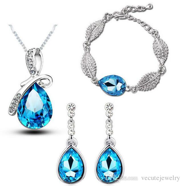 2019 New Fashion 18K White Gold Plated Waterdrop Austrian Crystal Necklace  Earrings Bracelet Jewelry Sets For Women Made With Swarovski Elements From  ... 0126a219d73a