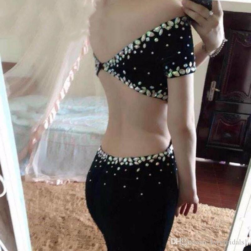 2017 newest beads mermaid evening dressoff shoulder short sleeves floor length sexy backless prom dress