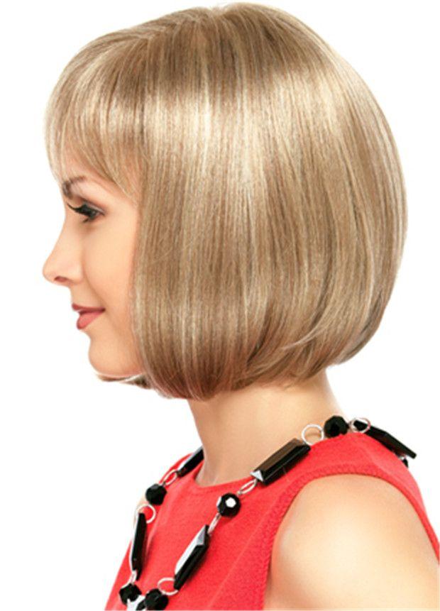WoodFestival court perruque blonde femmes de longueur moyenne usure quotidienne perruques droites fibre résistant à la chaleur bob perruques de cheveux