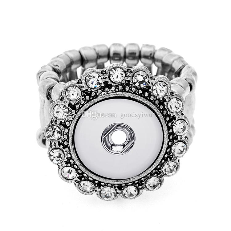 Mixed 8 Styles Crystal Noosa elastic Alloy Base snaps button rings DIY 12mm ginger snaps button jewelry Butterfly Flower Shape