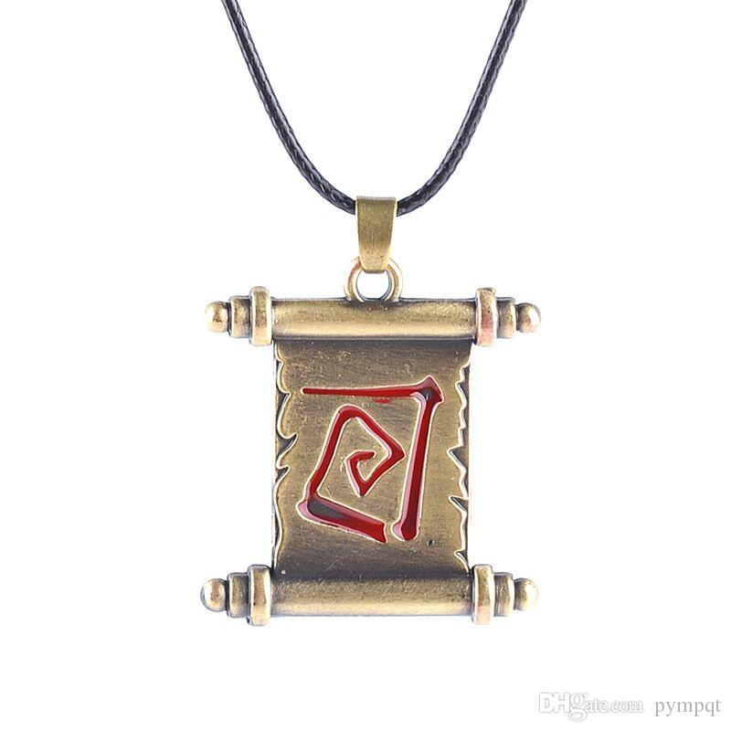 vintage copper plated Ancient dota2 scroll volume roll dota 2 reel necklace red Incantation spell Rune book pendant Amulet necklace x321