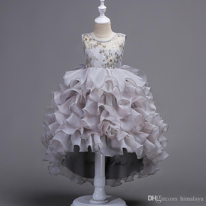 2017 crianças em camadas de noite vestidos de princesa festa de crianças roupas de bebê meninas de alta qualidade roupas da criança vestido de baile vestido para 100-170 cm