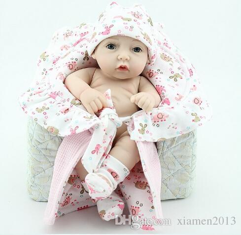 "Wholesale-New baby silicone s/ Fashion reborn babies dolls lifelike 12"" Silicone Vinyl boy and girl doll 100% handmade"