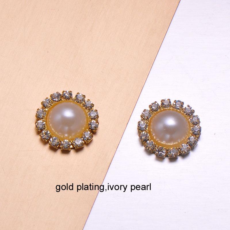 15MM J0006 round metal rhinestone button with pearl wedding embellishment hair flower center scrapbooking accessories