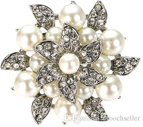 1.6 Inch Rhodium Silver Cream Pearl and Rhinestone Crystal Diamante Leaf Flower Brooch Wedding Pins
