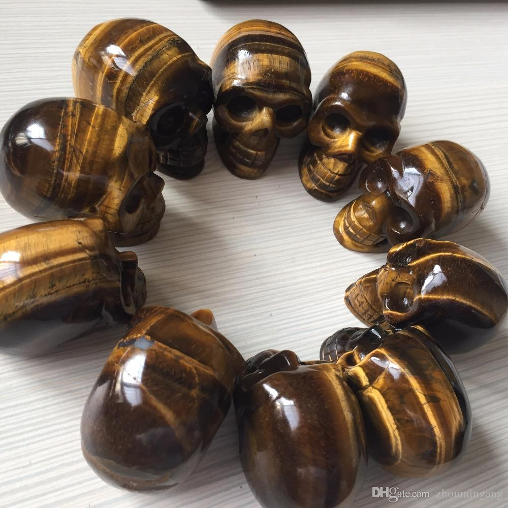 1 piece crystal Skull Decoations Natural yellow Tiger Eye Stone 2 inch hand craved Skull Healing gifts for Christmas