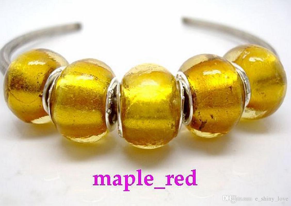 100 unids YellowGold Murano Glass Silver Core Beads para hacer la joyería de Murano flojo del encanto de cuentas de DIY para la pulsera al por mayor en el precio bajo a granel