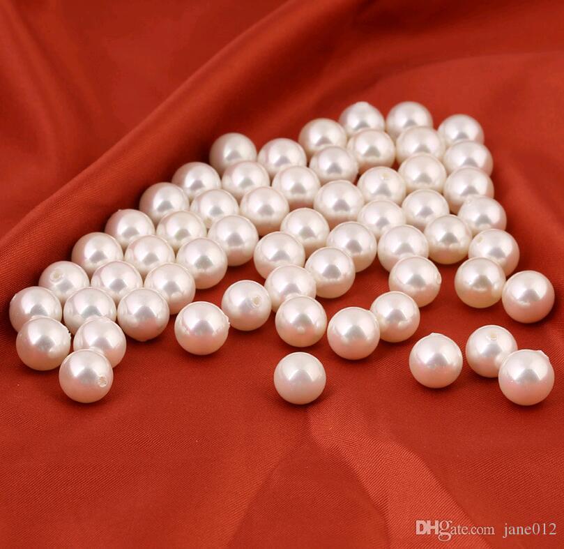 14 MM 16 MM 18 MM Perlen Perlen Für Die Herstellung Von Ohrringe DIY Schmuck Weiß Halbe Lochschalen Runde Lose Perlen Großhandel