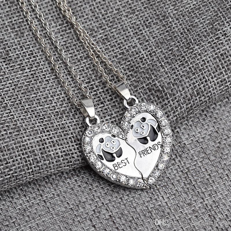 New Style Splice Heart Pendant Necklace Best Friends Letter panda Necklace New Year Gifts for Friends