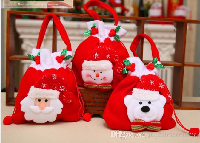 2018 wholesale christmas candy bags santa claus gift bag home party christmas decoration supplies kids gifts christmas tree ornament supplie from - Christmas Candy Bags