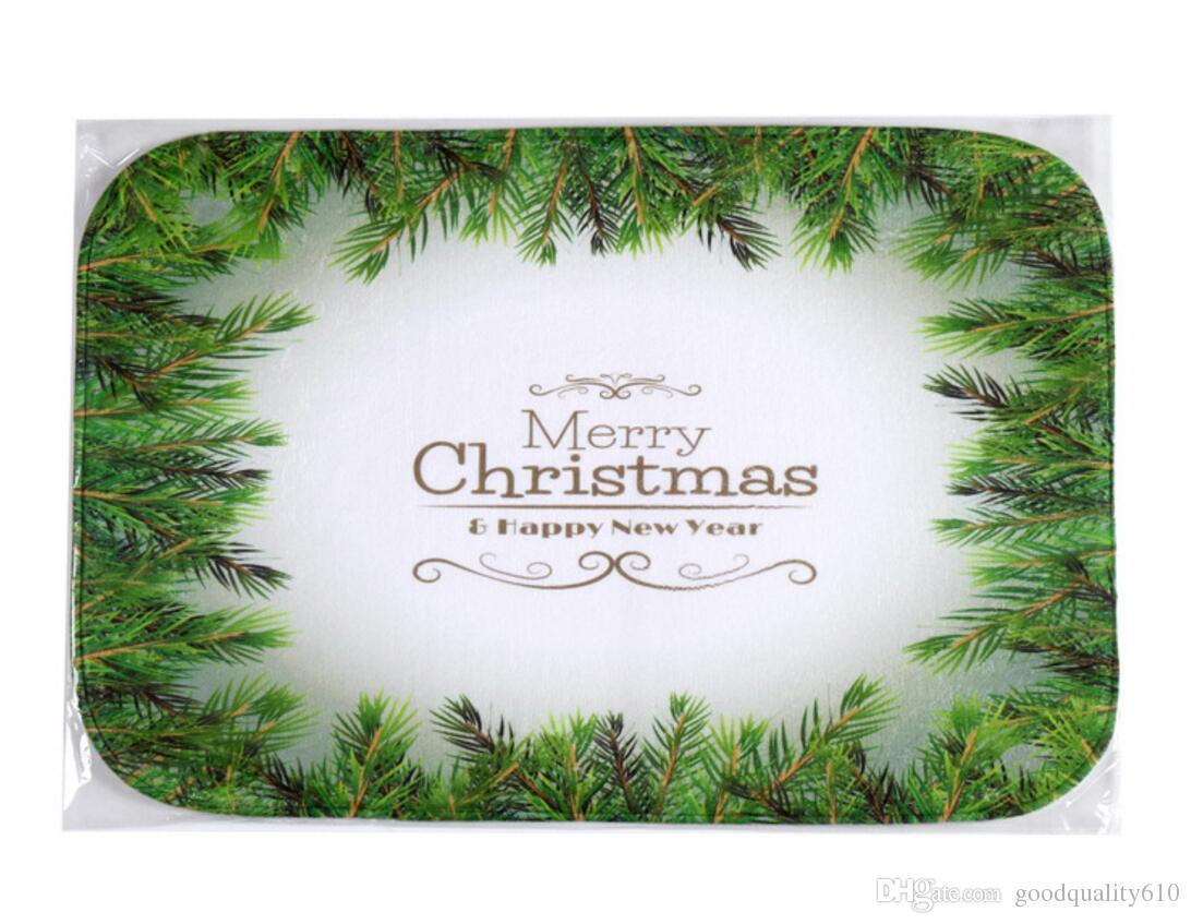 40 * 60cm Foglia Verde Natale Bagno tappeti antiscivolo Tappeti corallo del panno morbido tappeto Bagno Camera Zerbino online