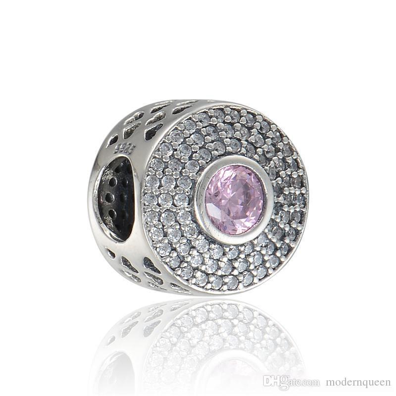 Coração cor-de-rosa Coração S925 Sterling Silver encaixa-se para o estilo de marca original Charm Bracelets H9