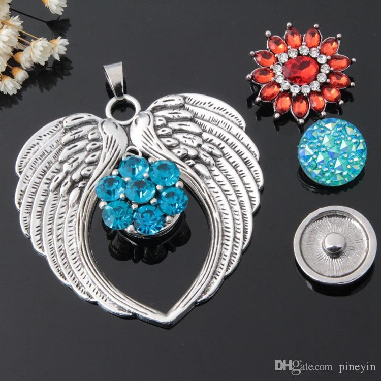 Ali di angelo fatte a mano in metallo 18mm con bottone a pressione con ganci a scatto gioiello bracciale e collana fai ciondolo charms fai da te