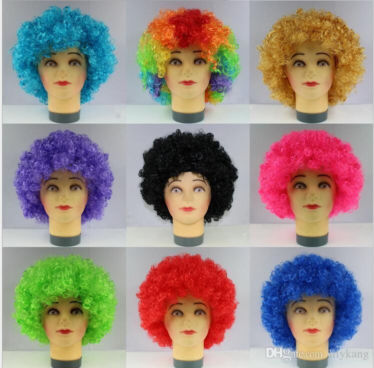 Хэллоуин диско курчавый парик Радуга Afro париков клоун Ребенок Взрослый Костюм Футбол вентилятора парик волос вентилятора Fun