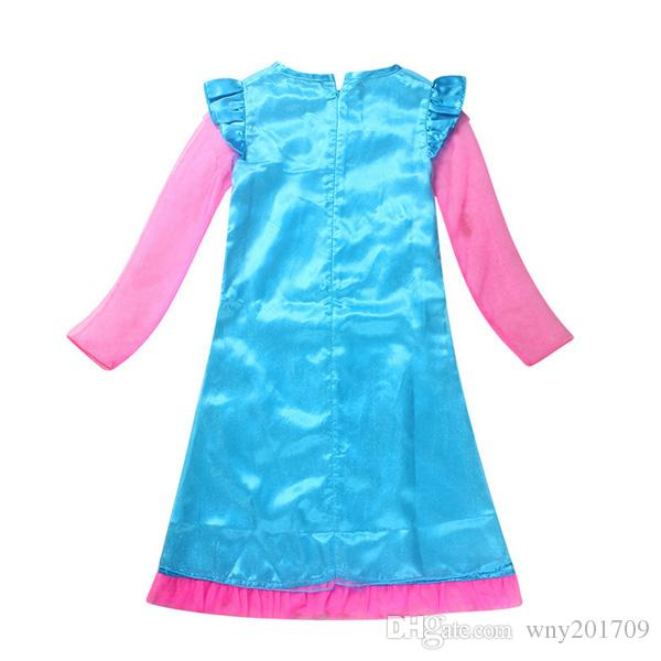 2017 New Christmas Costumes For Girls Party Skirts Kids Dresses For Girls Net Yarn Long Sleeve For Teenagers Children Clothing