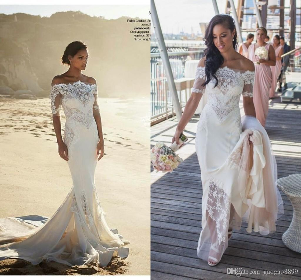 Pallas Couture 2016 New Fashion Off Shoulder Beach Sheath Wedding Dresses With Sleeves Amazing