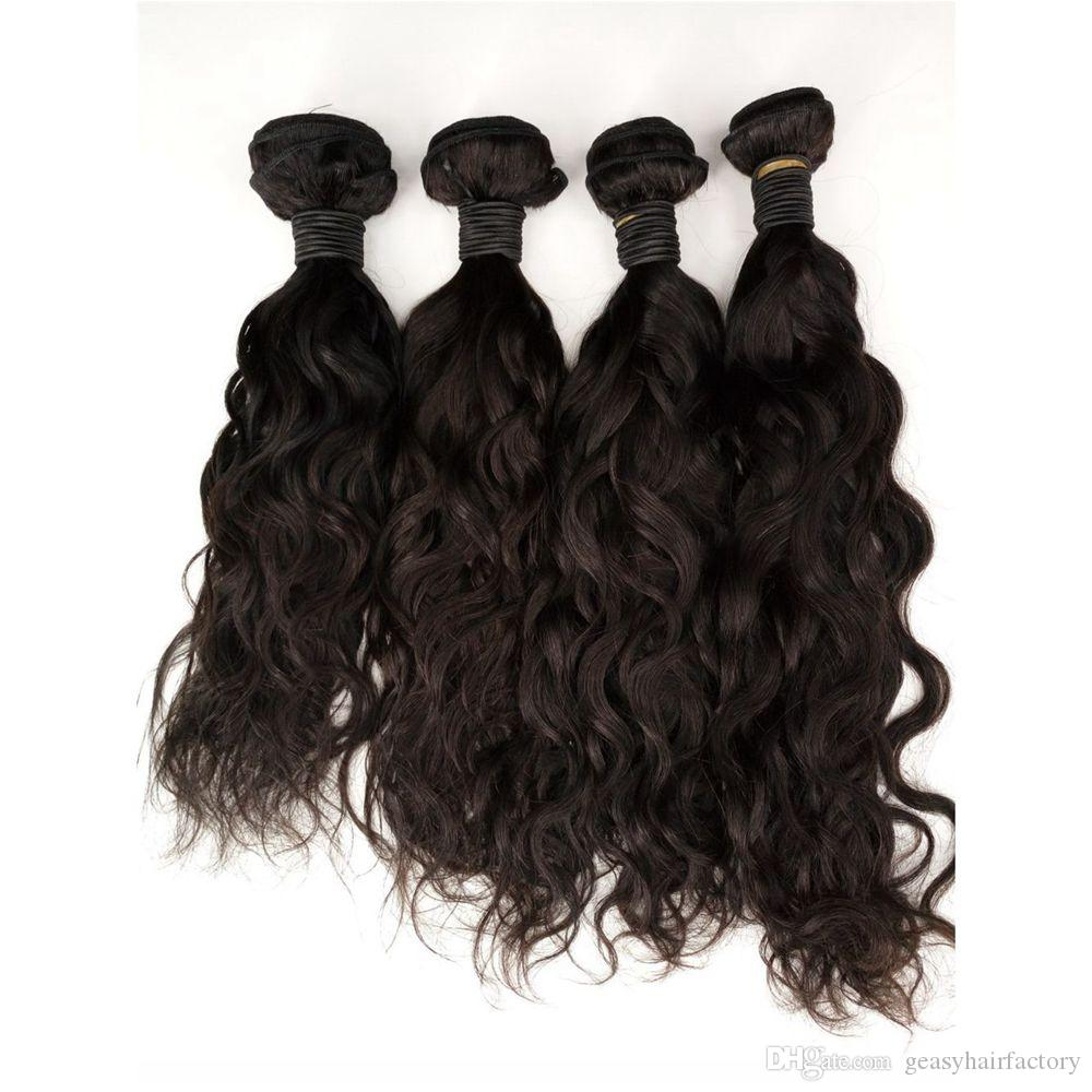 Indian Water Wave Hair Weaves Great Quality Human Hair Extensions Natural Black Wet And Wavy LaurieJ Hair