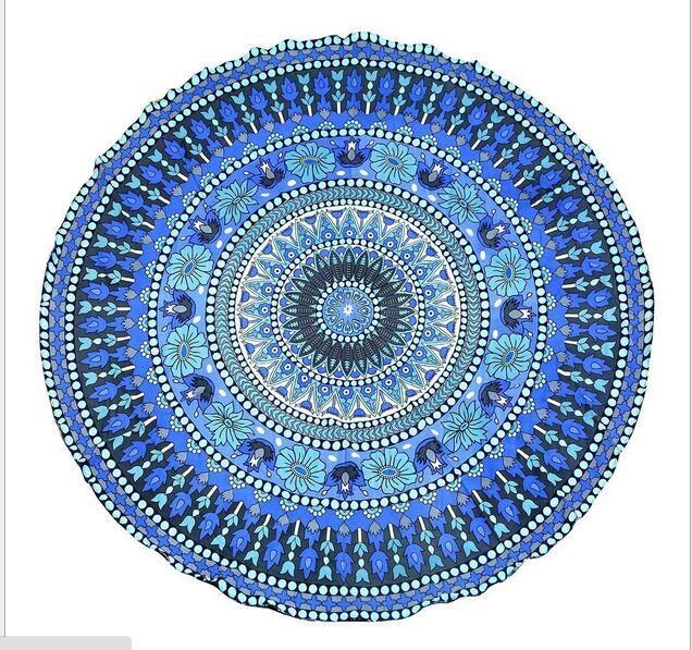 Rodada Flor De Lótus Forma Mandala Tapeçaria Tapeçaria Floral Impresso Praia Rodada Jogue Toalha Hippie Gypsy Yoga Mat Cobertor 150 cm