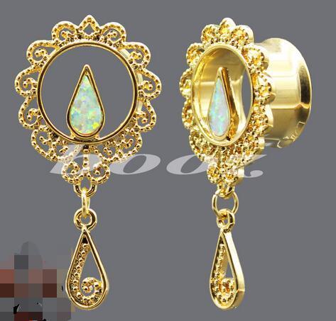 2 farben gold silber 42 teile / los heißer verkauf ohr messgeräte piercing körperschmuck edelstahl ohrstöpsel tunnel 10-25mm neue ankunft tropfenverschiffen