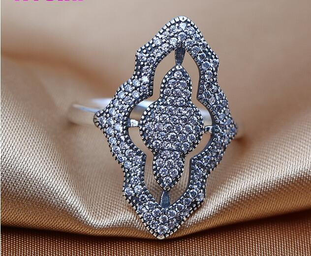 Rings 925 Sterling Silver ring Sparkling lace, clear cz fits for Pandora Jewelry DIY charms wholesale European style NEW charms