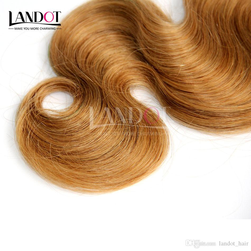 Honey Blonde Russian Virgin Human Hair Weave Bundles Color 27 Russian Body Wave Hair Russian Body Wavy Remy Hair Extensions Double Weft