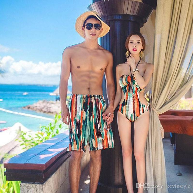 26b107db61e41 2019 Wholesale Couples Swimwear Women Sexy Halter Monokini Bikini Trikini  Men Beach Shorts Loves Swimsuit Bathing Suits UB0059 Kevinstyle From  Kevinstyle, ...
