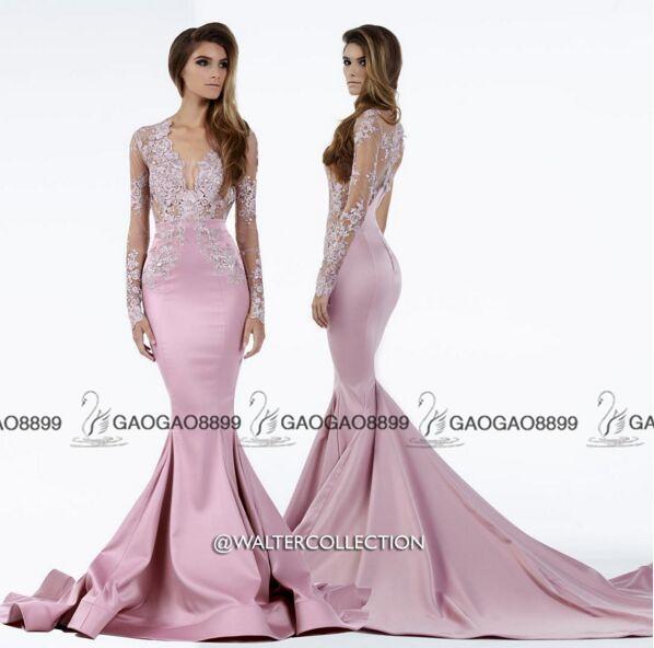 월터 컬렉션 라이트 핑크 레이스 얼룩 롱 슬리브 두바이 아랍어 파티 파티 정장 드레스 V - 목 트럼펫 행사 저렴한 드레스