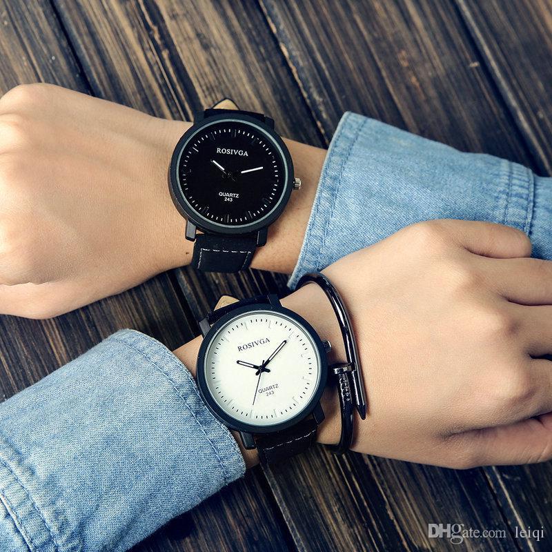 Large dial Korean Harajuku style retro minimalist fashion trend female couple watches belt tide male high school students
