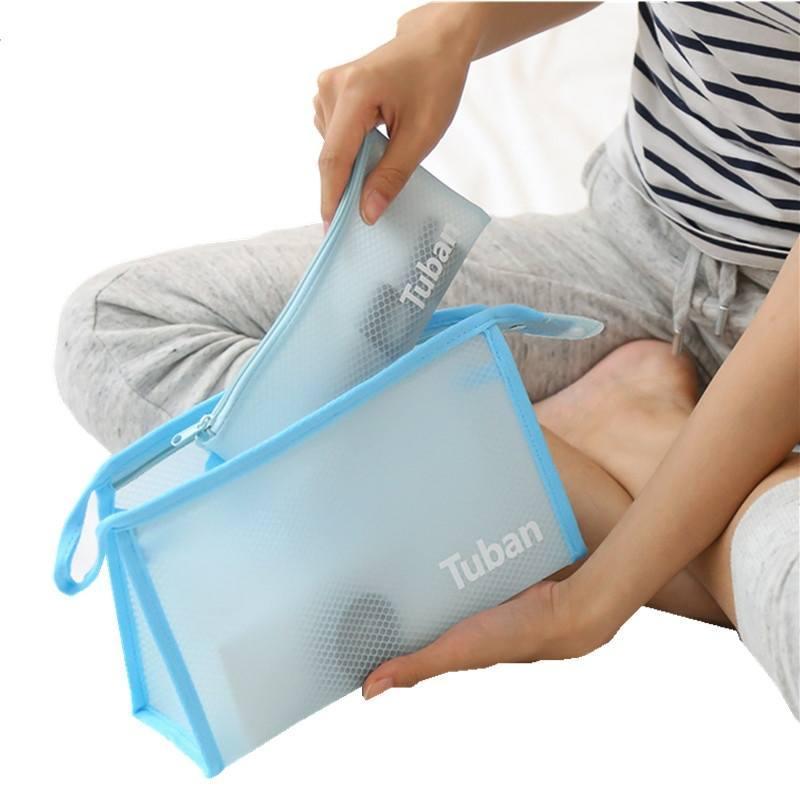 24c49d837b42 Lhlysgs Brand 2 Pcs Waterproof Pvc Transparent Cosmetic Bag Women Travel  Beauty Large Necessary Toiletry Organizer Makeup Bag