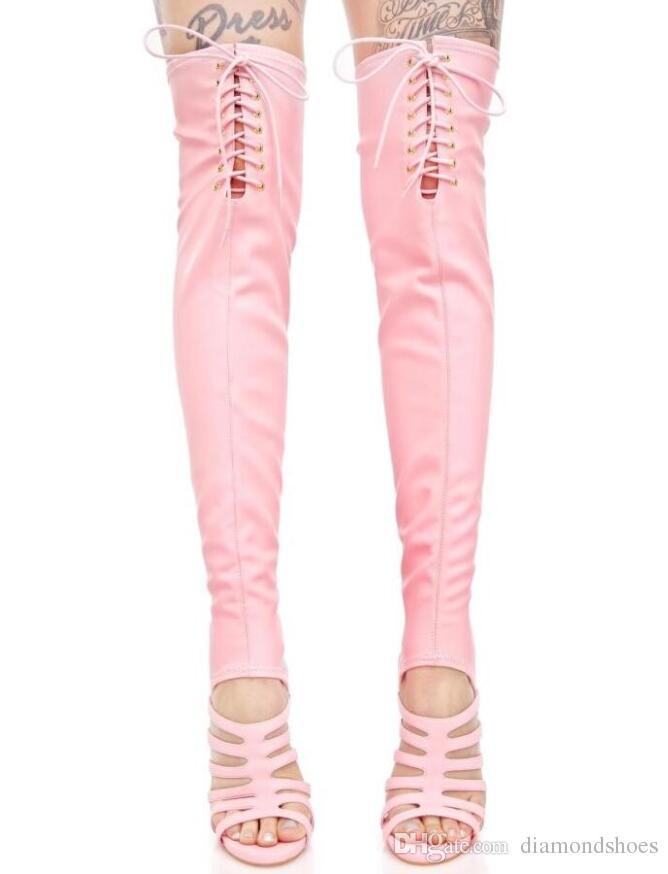 2017 yeni yaz kadın diz yüksek gladyatör sandalet botlar tozluk uzun patik burnu açık Streç Kumaş uyluk yüksek patik
