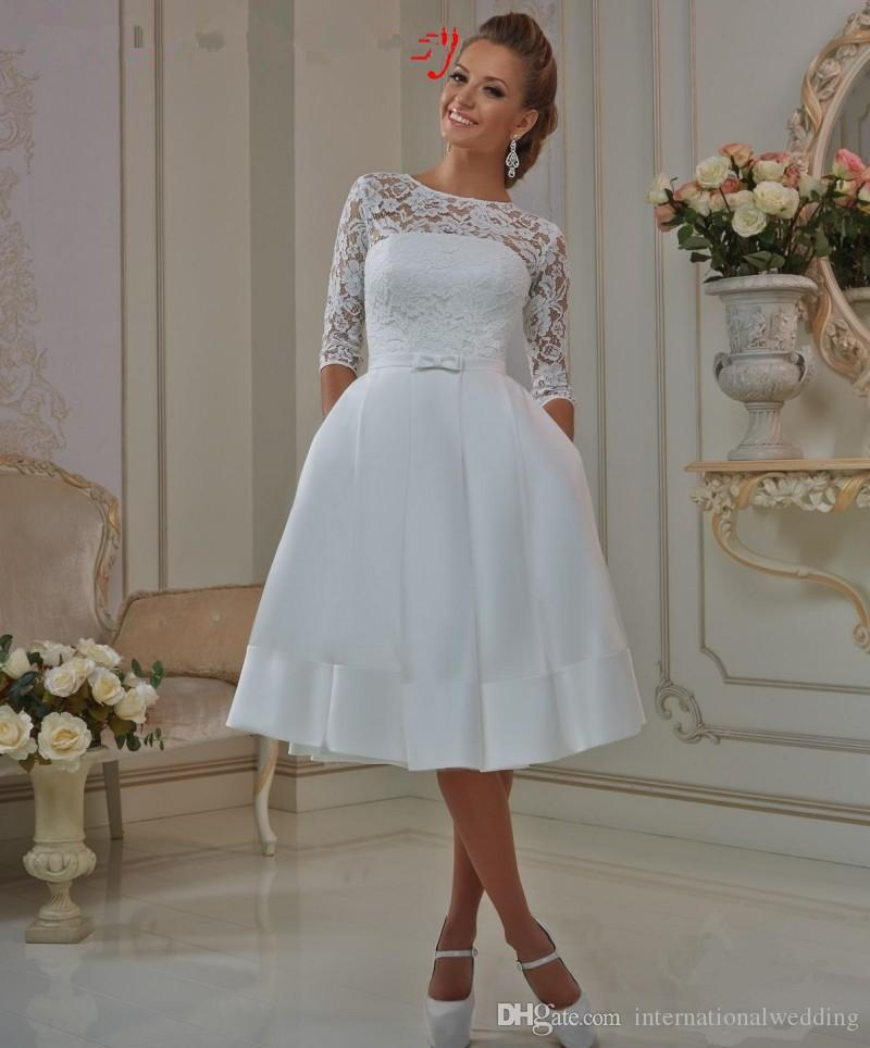 Elegant Lace Sleeve Short Wedding Dresses 2016 Scoop Neck: Discount Sheer Lace Short Styles Wedding Dress Half