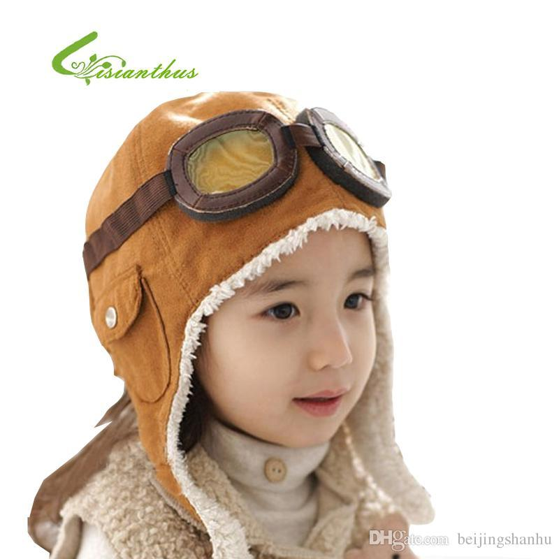 10b7c5e92111d Wool Baby Winter Hats Children Pilot Hat  Caps Boys Flight Caps Winter Baby  Hat Kids Warmer Earflap Beanie PM011 Christmas Gift Stetson Hats Trilby  From ...