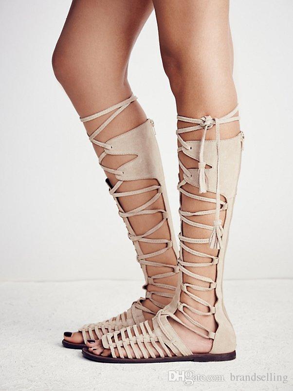 حرر الناس تل و strappy صندل المصارع من جلد الغزال مع strappy الدانتيل متابعة الأحذية