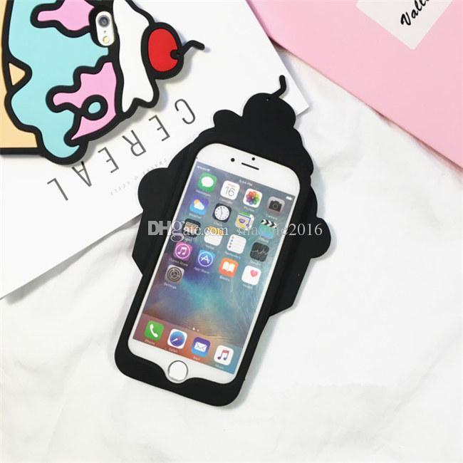 Korea cartoon cute candy color rainbow cherry strawberry ice cream soft silicone case For Iphone 5 5s 5se 6 6s 6 plus 6s plus 7 7plus