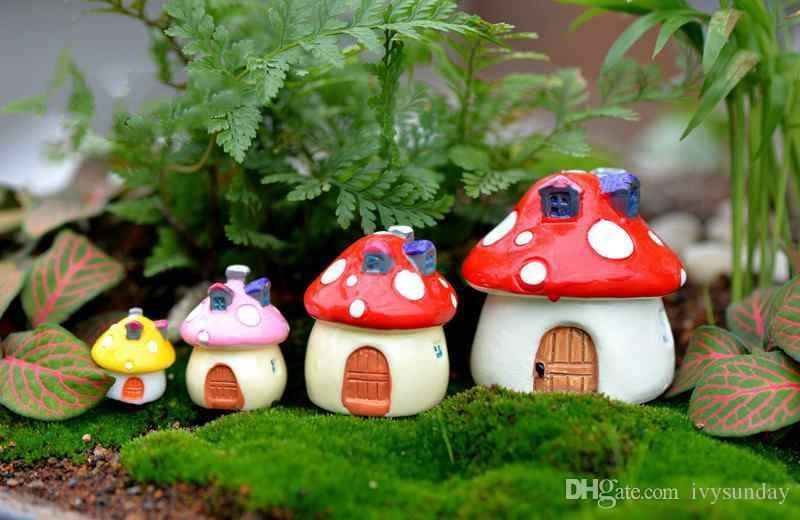 Mushroom House Castle Mediterranean Style Moss Terrarium Micro Landscape Succulent Ornament Fairy Garden Desktop DIY Material Zakka
