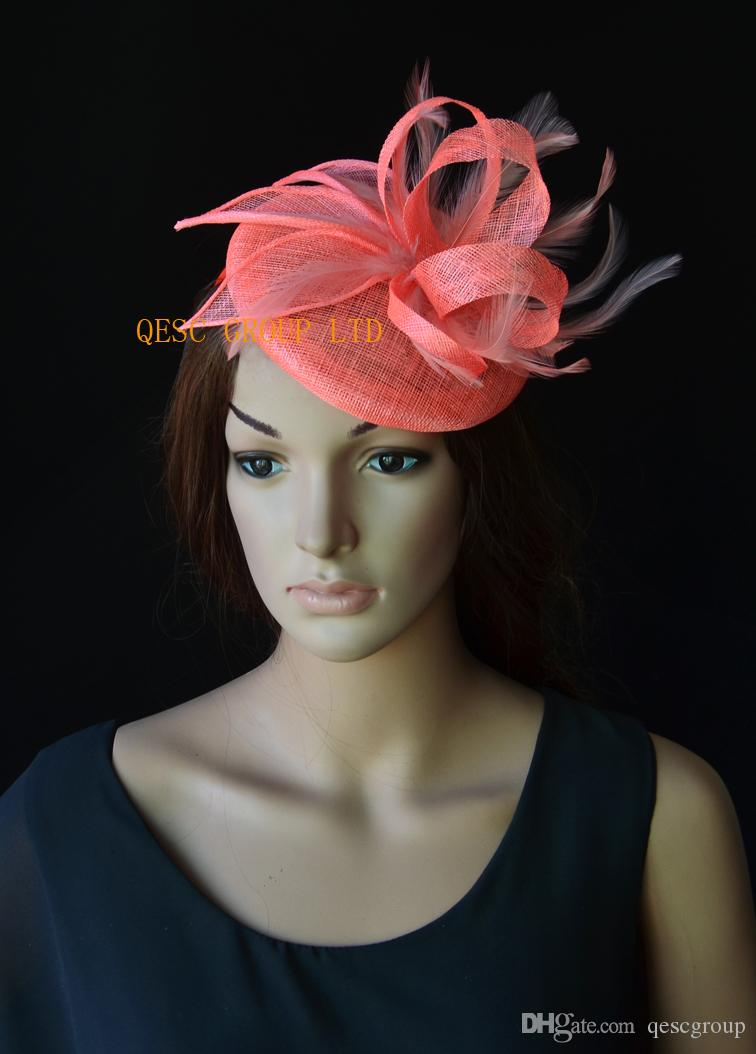 6af56a54ae718 Coral Pink Sinamay Base Fascinator Wedding Hat with Sinamay ...
