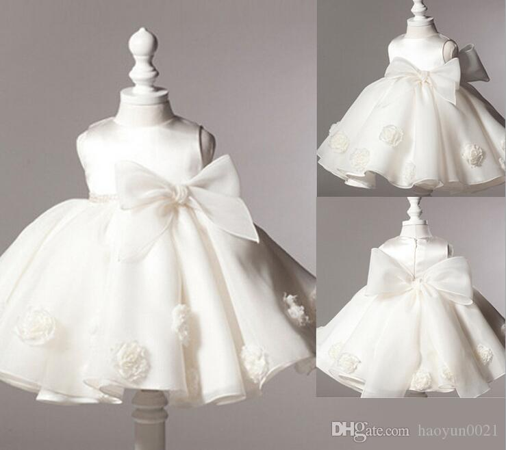 2017 2016 New Baby Girl Baptism Dress Bow Kids Baby 1 Year ...