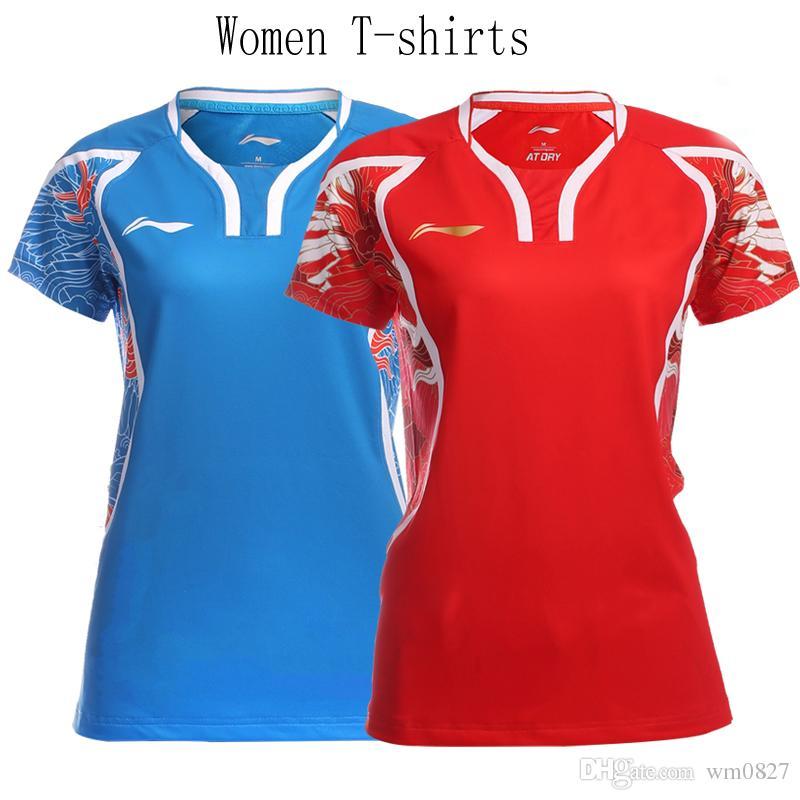 New Rio Olympics Li-Ning Badminton einheitliche T-Shirts für Männer und Frauen Shorts Anzug mit kurzen Ärmeln, Tischtennis-Jersey-Shorts Sets Flagge