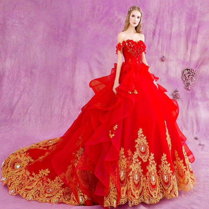 Compre Vestidos De Noiva Bata De Matrimonio Vestido De Novia Rojo ...