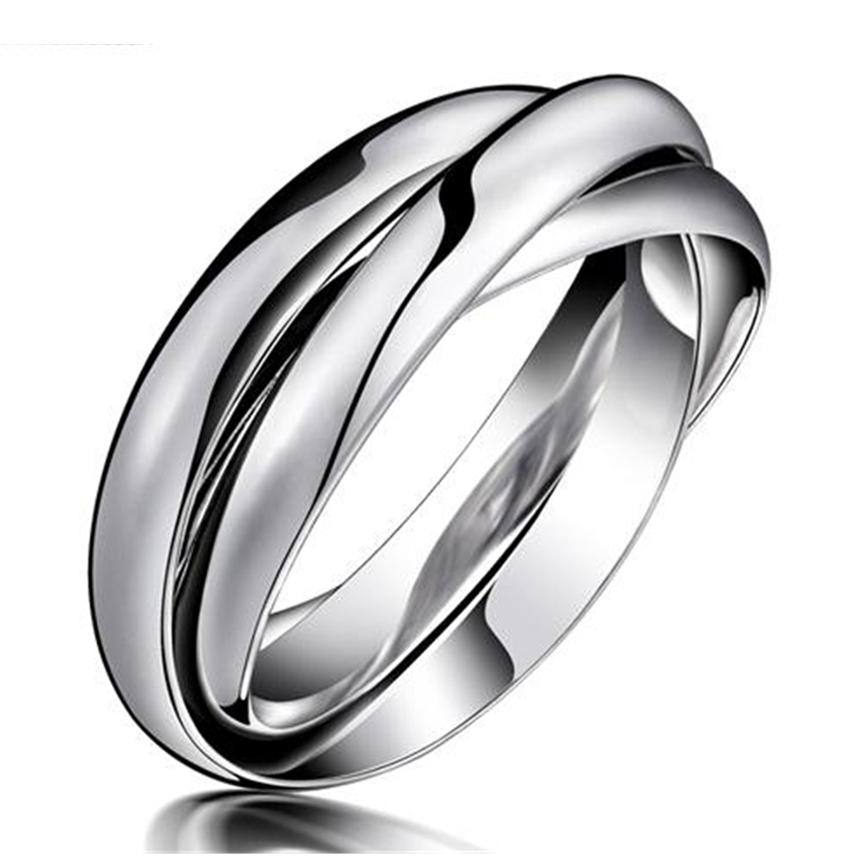 316 L Stainless Steel Tricolour Russian Rolling Wedding Ring DMjdmzxTv