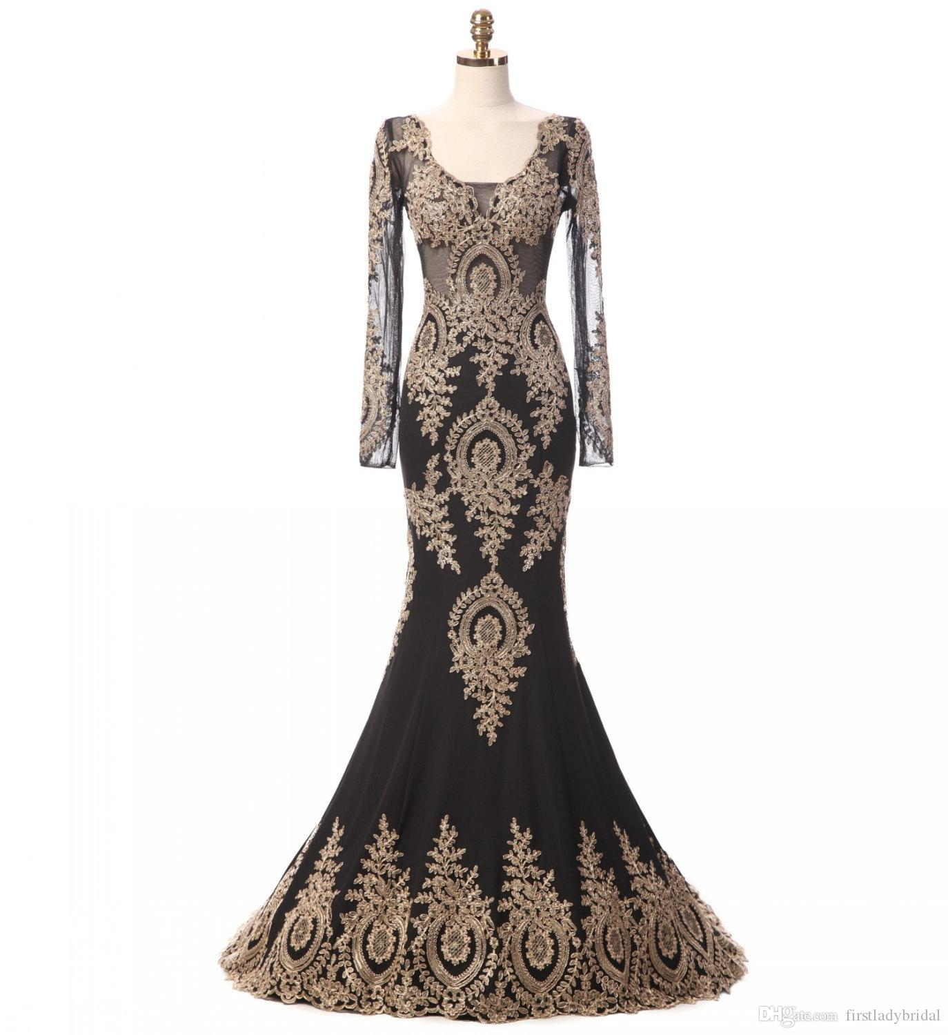 Real Photo Long Sleeve Prom Dresses Black Tulle Appliques Gold Lace Mermaid Sweep Train Indian Evening Party Gowns Vestido Longo