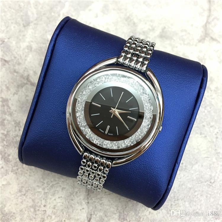 Горячие продажи роскошные женские часы розовое золото из нержавеющей стали леди наручные часы браслет платье смотреть сексуальные ювелирные изделия пряжки мульти цвета прокатки алмазов