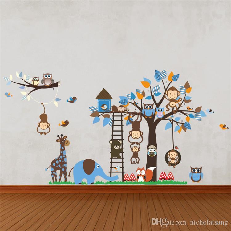Grand arbre Animal Stickers muraux pour chambre d'enfants Décoration Singe Hibou Fox Ours Autocollants Zoo Dessin Animé DIY Enfants Bébé Home Decal Mural Art