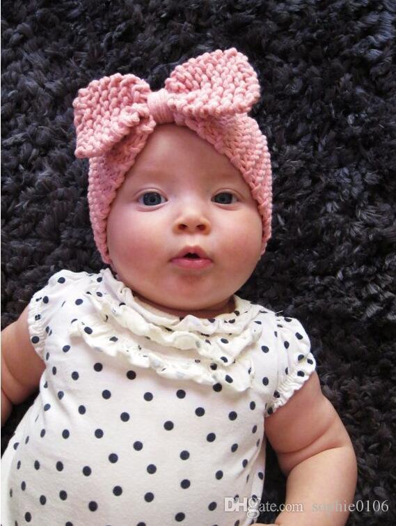 Crochet Headbands para os bebés Hairbands Bonnet malha Crianças Meninas bowknot Hairband 9 cores Acessórios Cabelo XM 006