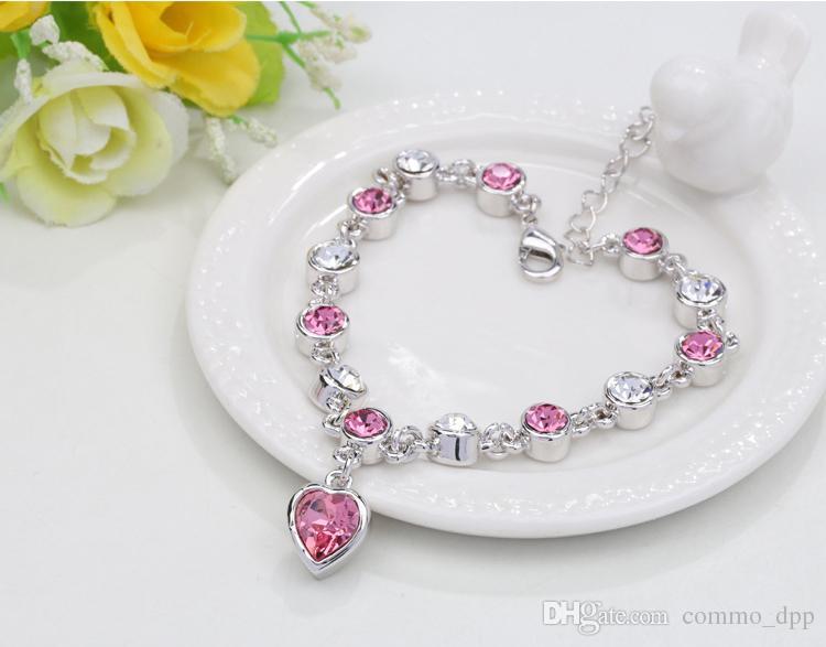 16 couleurs Mode dame Amour Pendentif Cristal Bracelet pour l'amour coeur imitation diamant chaîne bracelet pour les femmes charme bracelets Bijoux