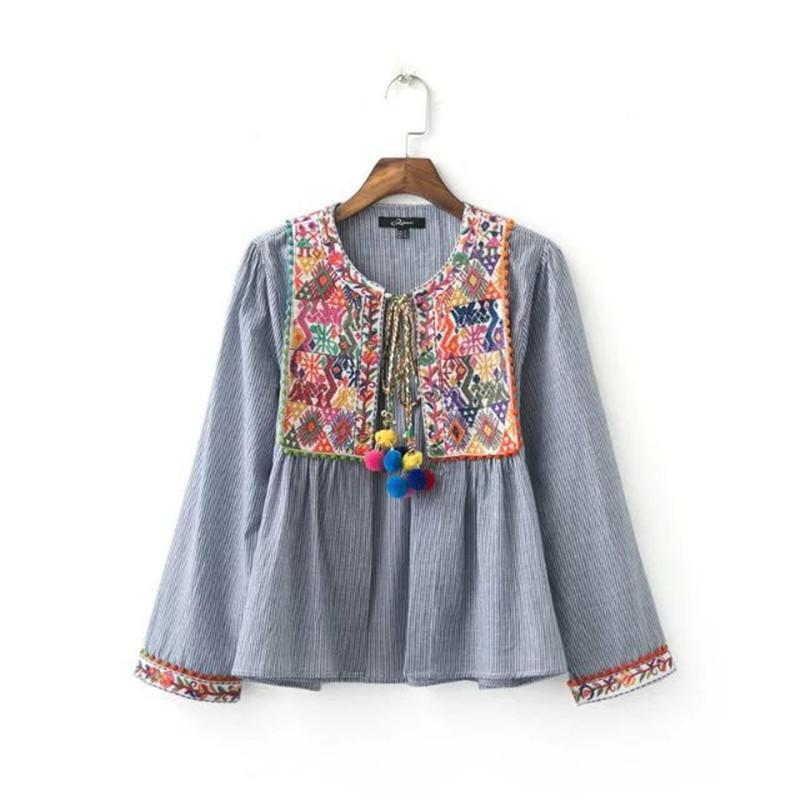 2016070616 Ethnic Striped Print Geometric Embroidery Shirt 2016 Summer Strappy ball tassel Cardigan Blouse Tops blusas chemise femme blusa