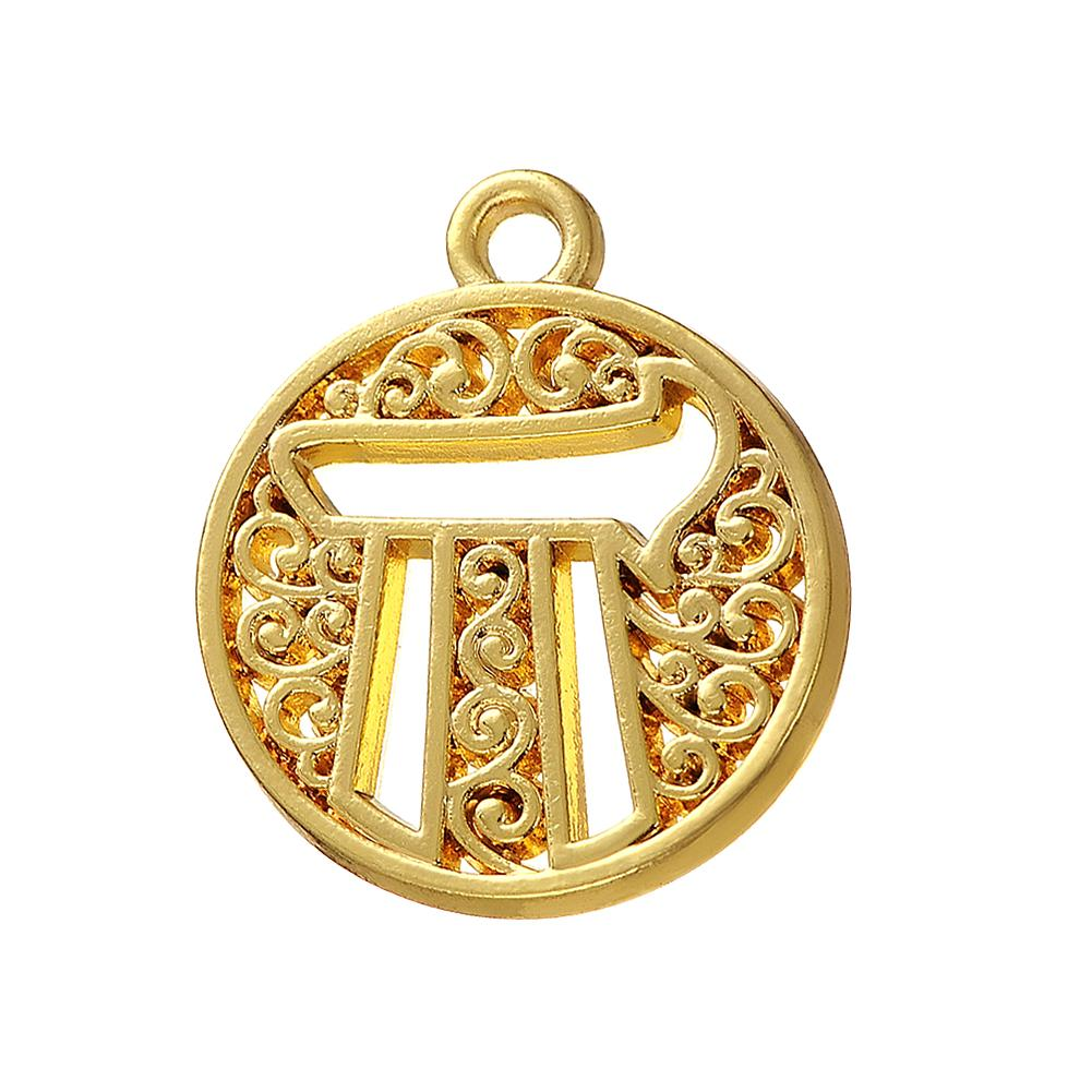 yellow disc unique gold chai pendant diamond y