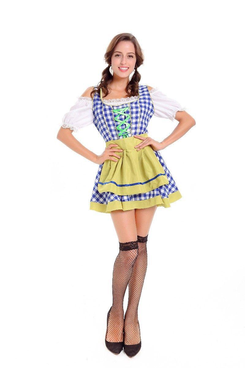 Bière Fille À Carreaux Mini Robe Allemande Oktoberfest Sexy Maid Cosplay Performance Uniformes Halloween Femmes Bavarois Costume