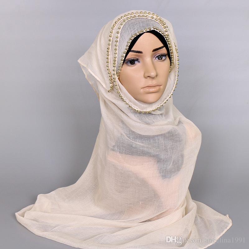 Popular deisgn plain gold pearl shawls beaded headband muffler hijab fashion wrap autumn long muslim scarves/scarf